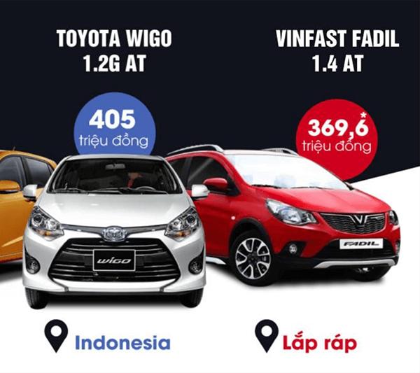 """so sanh vinfast fadil va toyota wigo 2021 2022 muaxegiatot vn - Cuộc """"đụng độ"""" thú vị giữa Vinfast Fadil và Toyota Wigo (phiên bản cao cấp)"""